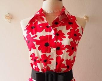 50% OFF Sale Red Floral Dress Vintage Style Sundress Red Summer Dress meri mekko Shirt Dress with Black Belt Ready to Ship - Size S (US4-6)