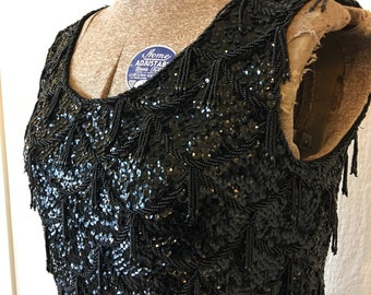 SALE - Vintage 60's Black Beaded Sequin Top Holiday Fringe Details Small