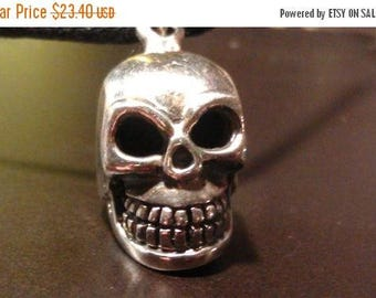 """ON SALE at Etsy Huge Silver SKULL,1inch x .5inch, (.925 sterling silver)Masterly Crafted on a 24"""" waxed cotton cord with lobster clasp, Mens"""