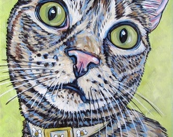 "Custom Cat Portrait Small Painting in Acrylic on 6"" x 6"" Canvas of 1 Dog, Cat, Other Animal. Ready to Hang Gallery Style Wrapped Canvas OOAK"