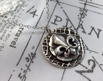 Fleur di Lis, Necklace, Silver, Sterling Silver, Layered, Handcrafted