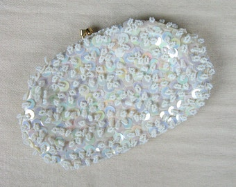 Vintage 1950s White Sequin Clutch 50s Small Oval Beaded Evening Clutch by