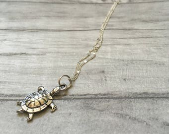 Turtle necklace, tiny turtle, sea turtle surfing, beach jewellery, surf jewelry, summer charm necklace, gifts for women, friendship