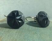 Antique Black Satin Glass Star Motif or 'French Jet' Earrings Dormeuses
