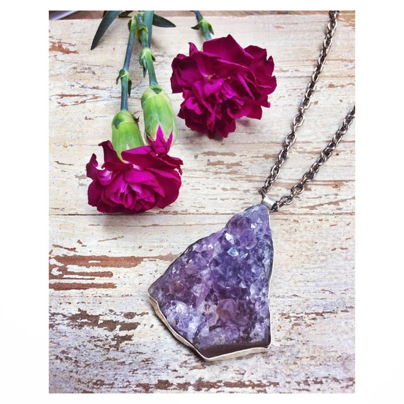 RAW AMETHYST NECKLACE- Sterling Silver- Amethyst- Bespoke Crystal Necklace- Healing Crystal Jewelry- Chakra- Druzy Necklace
