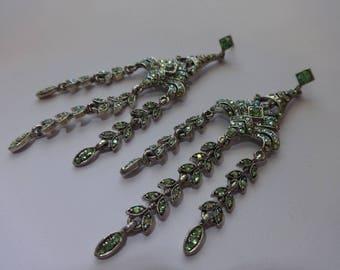 Vintage Lime Green Chandelier Style Pierce Earrings