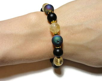 druzy citrine stretch energy bracelet rainbow gold and black fits 6.4 inch wrist