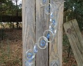 GLASS WINDCHIMES from RECYCLED  bottles, eco friendly, clear lt blue,  garden decor, mobiles, windchimes, glass wind chimes, glass