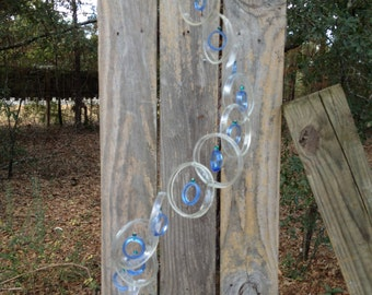 clear, lt blue, GLASS WINDCHIMES from RECYCLED  bottles,  garden decor, mobiles, windchimes, glass wind chimes, glass