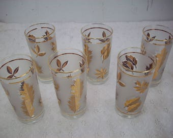 """Vintage Libbey """"Golden Foliage"""" Drinking Glasses (6) White Frosted Gold Leaf"""
