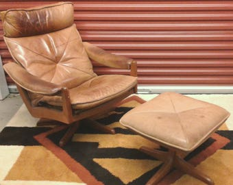 Lied Mobler Mid Century Modern Teak Recliner Leather Lounge Chair & Ottoman/ Eames Era/ Made in Norway, Circa 60s