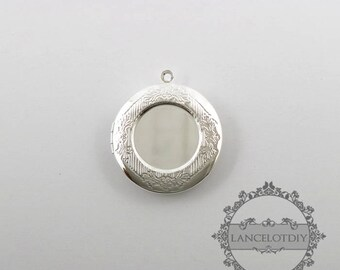 wholesale 5pcs vintage brass silver locket pendant,photo locket,round locket 1112002