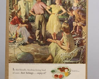 Beer Ad, US Brewers Foundation, 1950s Advertisement, Jack Gannam, Beverage of Moderation, Life Magazine, Ready for Framing