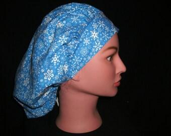 snowflake bouffant scrub hat