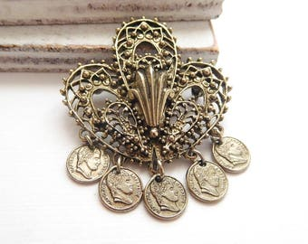 Vintage Signed ART Middle Eastern Inspired Napoleon Coin Charm Filigree Brooch