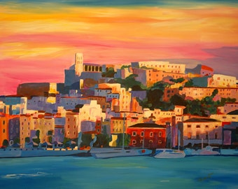 Ibiza Eivissa Old Town And Harbour Pearl Of The Mediterranean - Limited Edition Fine Art Print - Original Painting available