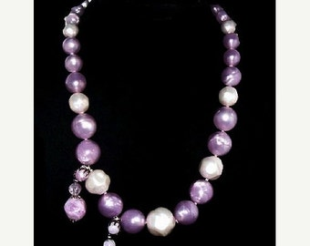 Lavender Bead Necklace Earring Set Lucite or Thermoset Silver Metal Boho Vintage