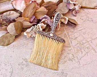 Pretty Victorian Era Sterling Silver and Natural Bristle Hat Brush