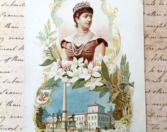 """Large and Pretty """"Clarks"""" Victorian Trade Card: """"Queen Margaret"""""""