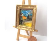Steampunk abstract Framed landscape Painting Original Art Painting Miniature Dolls House Art Picture Dollhouse