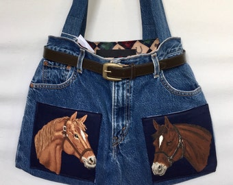Horse Heads Equestrian Theme Denim Jeans Purse Tote Bag