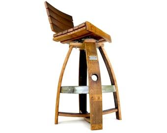 Wine Barrel Pub Stool w/ Memory Swivel & Backrest