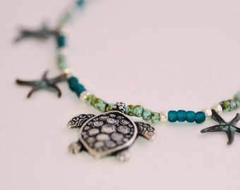 Necklace, Sea Turtle, Starfish, Seed Beads, For Her