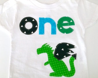 Dragon First Birthday Shirt Boys Shirt One white blue gift photo prop modern dinosaur