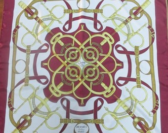 Authentic Hermes scarf ~100% silk ~ Eperon d'Or ~ burgundy and gold ~ excellent condition