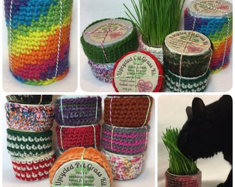 small upcycled wheat grass kit - pet grass - cat grass