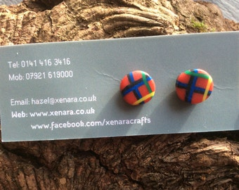 Scottish gift - Tartan Jewellery - Royal Stewart Tartan - Tartan Stud Earrings - Polymer clay earrings