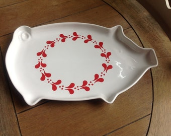 Swedish Pig Platter White Platter with Red Scandinavian Design Made in Sweden