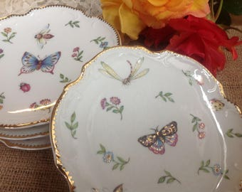 I. Godinger & Co Primavera Round Canape Plates Set of Four Lovely set Butterflies