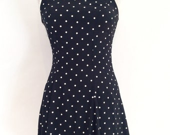 Byer Too! vintage 1980s 1990s black and white polka dot sleevless lace up back a line dress