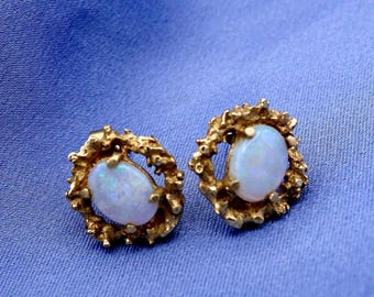 Art Deco Opal and 14k Gold  Earrings, Vintage Opal and 14k Gold Studs