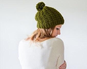 FLASH SALE chunky knit womens slouchy hat beanie pom hat - cilantro - the WINDSOR