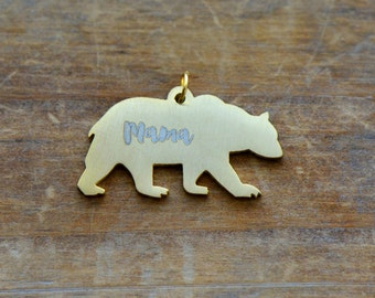 """Engraved """"MAMA"""" Bear Silhouette Charm Brushed 24k Gold Plated Stainless Steel """"Mama"""" Bear Layering Charm Minimal Jewelry Pendant (AS048)"""