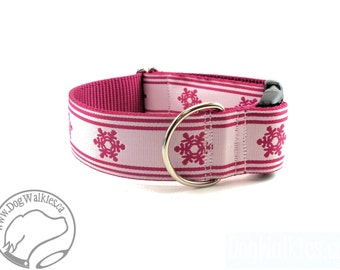 "Winter Wonderland White and Pink - 1.5"" (38mm) Wide - Choice of collar style and size - Martingale Dog Collars or Quick Release Buckle"