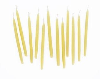 Hand-dipped Beeswax Birthday Candles - Natural Set