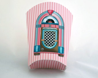 Digital Printable French Fry Box  - Retro French Fries Holder - 50s Style Fry Box - Snack Box - 1950s Treat Box