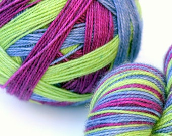 "Self Striping Sock Yarn, Superwash Merino and Nylon Fingering Weight, in ""Muscari"""