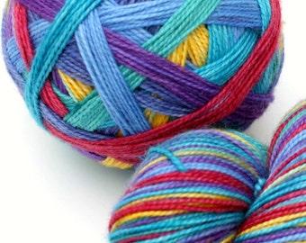 "Self Striping Sock Yarn, Superwash Merino and Nylon Fingering Weight, in ""In the Mood"""