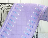RESERVED FOR J Purple linen table runner, vintage Swedish home decor, dresser scarf , satin stitched embroidery , 7,25 x 26 ""