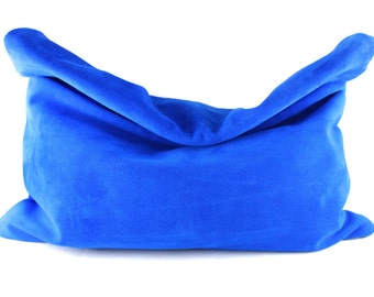 NEW! Color Me Roll-Down SUEDE Statement Clutch - MORE Colors   Oversized Clutch   Large Clutch   Cowhide   Handbag   Handmade