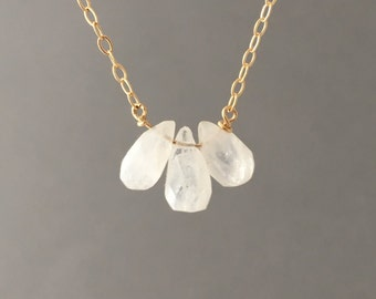 THREE Rainbow White Teardrop Moonstone Gold Necklace also in Silver or Rose Gold