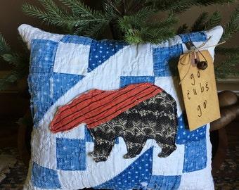 Primitive Chicago Cubs Inspired Pillow Tuck~ Vintage Indigo Quilt Christmas gift- Go Cubs Go- Primitive Baseball Decor- Bear