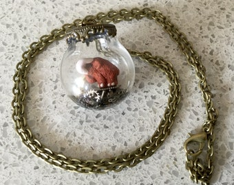Steampunk Mini Mammoth 20mm Terrarium Glass Bubble Necklace