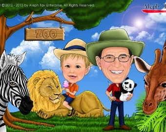 Family Caricatures in fun activities
