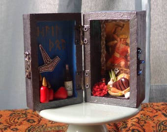 Thor Mini Box Shrine. Miniature Nicho.  Travel Altar. Shadow Box. Mixed Media Altered Art.