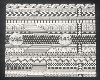 Weaving the Elements- Art print, hand drawn, black and white, geometric shapes, geometric patterns, illustration